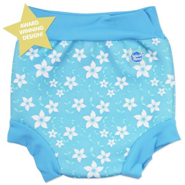 Neoprenowa pieluszka do pływania Happy Nappy – niebieski z kwiatkami