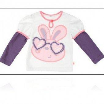 Bluzka Milli bawełniana z fioletowymi rękawkami