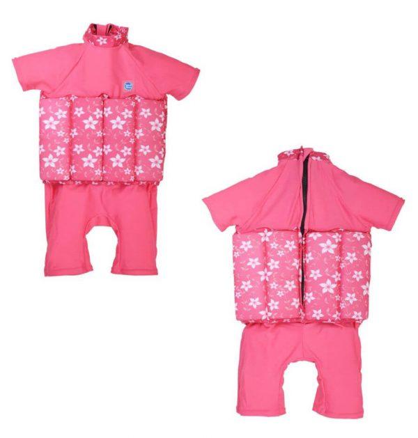Kostium kąpielowy do nauki pływania UV Float Suit z suwakiem Splash About Pink Blossom 1-6 lat