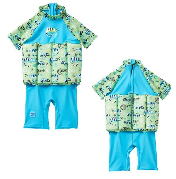 Kostium kąpielowy do nauki pływania UV Float Suit z suwakiem Splash About Green Gecko 1-6 lat
