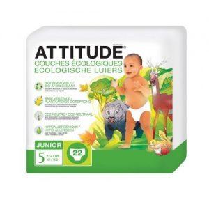 Attitude, Little Ones, Ekologiczne pieluszki dla Niemowląt Rozm 5 (+12 kg), 22 szt.