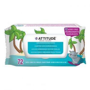 Attitude, Bezzapachowe nawilżane chusteczki dla niemowląt (fragrance free) 3×72 szt