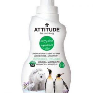 Attitude, 2 w 1 Płyn do prania i płukania Górska Świeżość (Mountain Essentials) 35 prań – 1040 ml