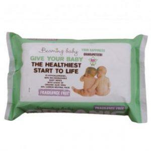 Beaming Baby, Organiczne Chusteczki Nawilżane BEZZAPACHOWE – do skóry bardzo delikatnej, 72 szt.