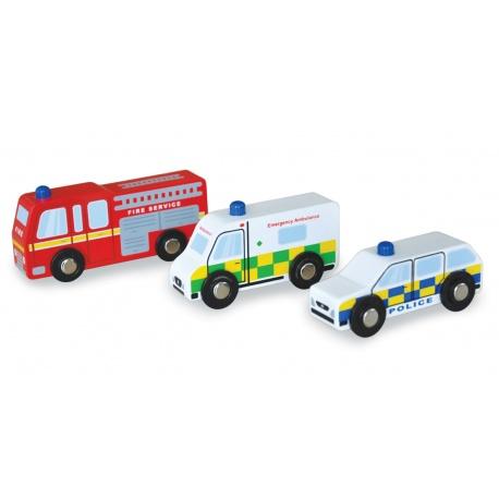 Drewniane autka pojazdy ratunkowe Indigo Jamm
