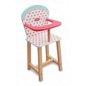 Indigo JammDrewniane krzesełko do karmienia lalek serduszka