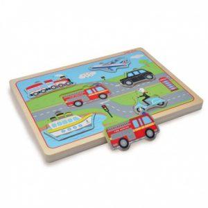 Drewniane puzzle dźwiękowe pojazdy transportowe Indigo Jamm