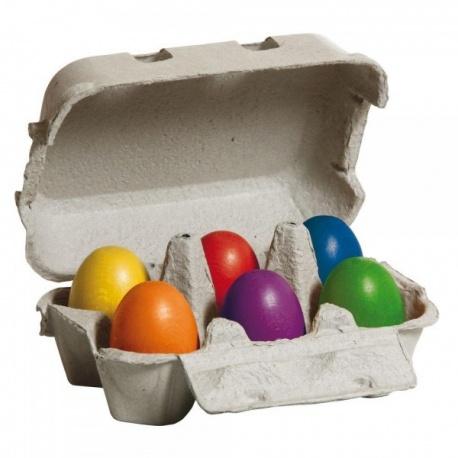 Jajka kolorowe drewniane w pudełku 6 szt ERZI