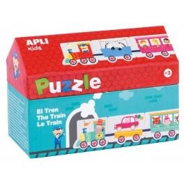 Apli Kids Puzzle w kartonowym domku – Pociąg 3+