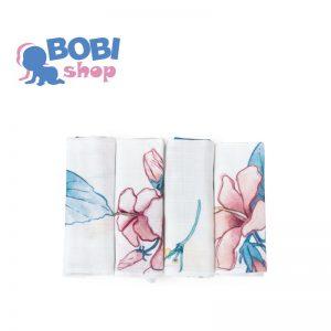 Chusteczki bambusowe Poofi 4-pak – hibiskusy