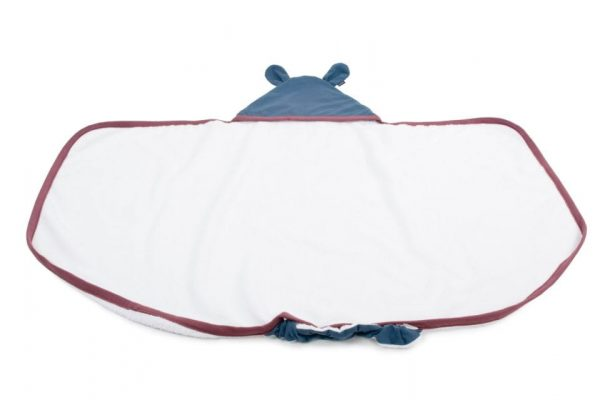 Duży ręcznik z uszami Poofi Organic&Color – bordo/denim