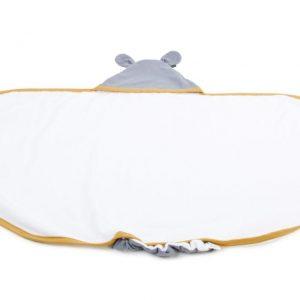 Duży ręcznik z uszami Poofi Organic&Color – miodowo/szary