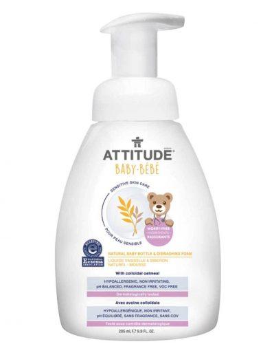 Attitude, Sensitive Skin Baby, Naturalna piana mydlana do mycia butelek i naczyń dla niemowląt Bezzapachowa 295 ml