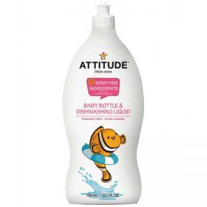 Attitude, Płyn do mycia butelek i akcesoriów dziecięcych, Bezzapachowy 700 ml