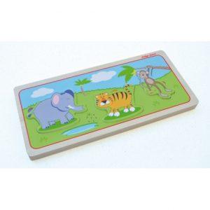 Drewniane puzzle dźwiękowe dzikie zwierzęta Indigo Jamm