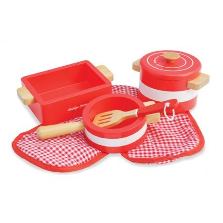 Naczynia kuchenne z drewna czerwone Indigo Jamm