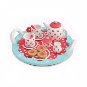 Serwis do herbaty z tacą i ciasteczkami z drewna kauczukowego Indigo Jamm
