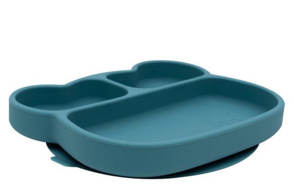 Talerzyk silikonowy z przyssawką niebieski Miś