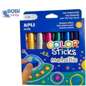 Apli Kids farby metaliczne w kredce 6 kolorów