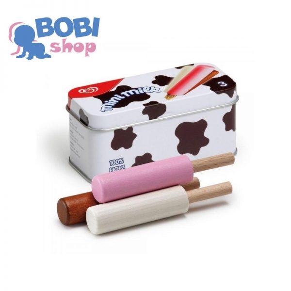 Drewniane lody Mini Milk w puszce Erzi