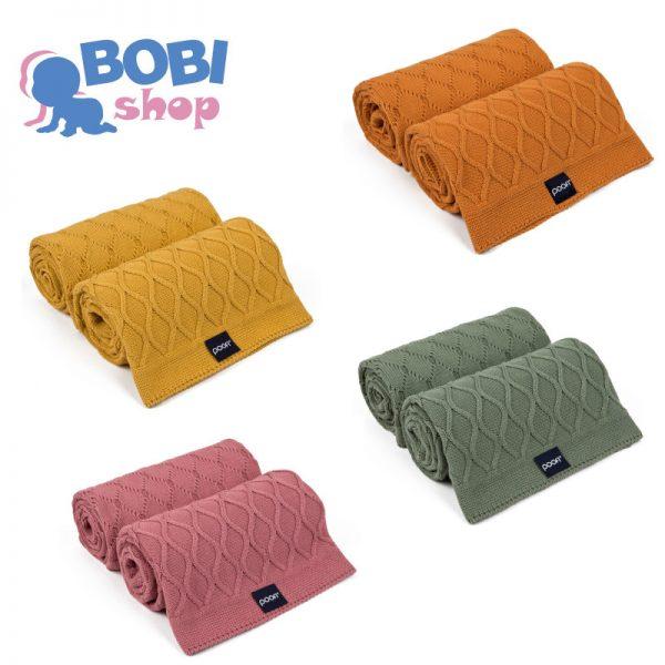 Kocyk tkany Poofi Dwa Sploty – 4 kolory