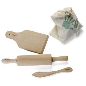 Zestaw drewnianych narzędzi kuchennych w bawełnianym worku- Ailefo